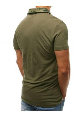 Bavlnená pánska polokošeľa zelenej farby s maskáčovým golierom