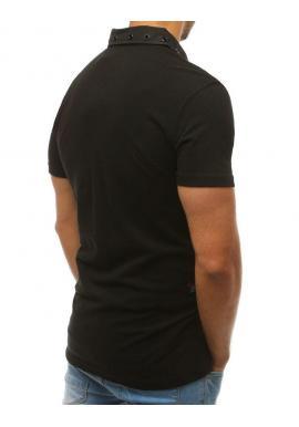 Čierna módna polokošeľa s nášivkami pre pánov