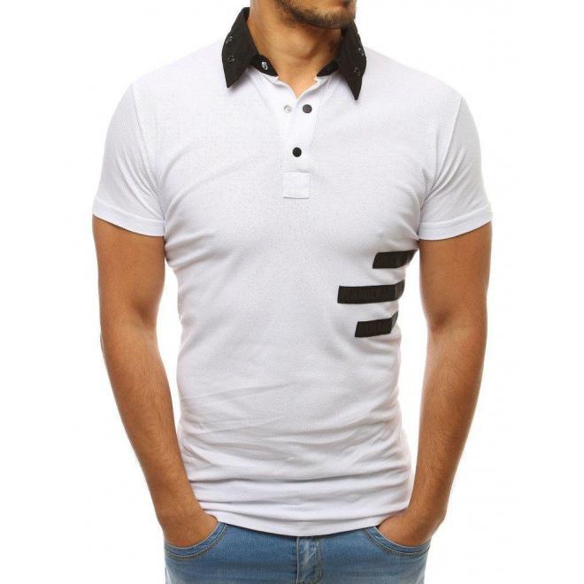 Pánska módna polokošeľa s nášivkami v bielej farbe