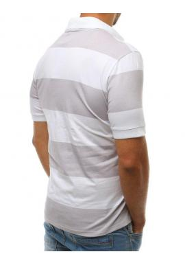 Pásikavá pánska polokošeľa sivo-bielej farby