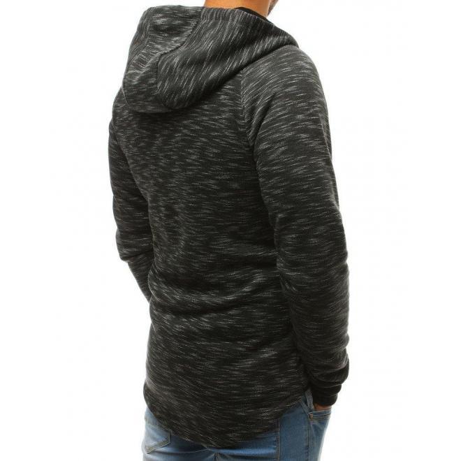 Módna pánska mikina sivej farby s kapucňou