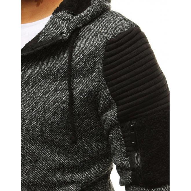 Pánske štýlové mikiny s kapucňou v sivej farbe