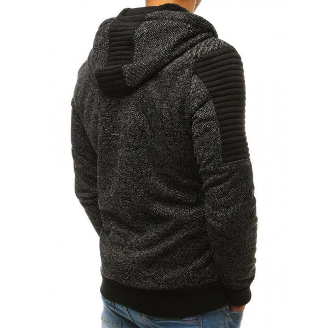 Štýlová pánska mikina čiernej farby s kapucňou