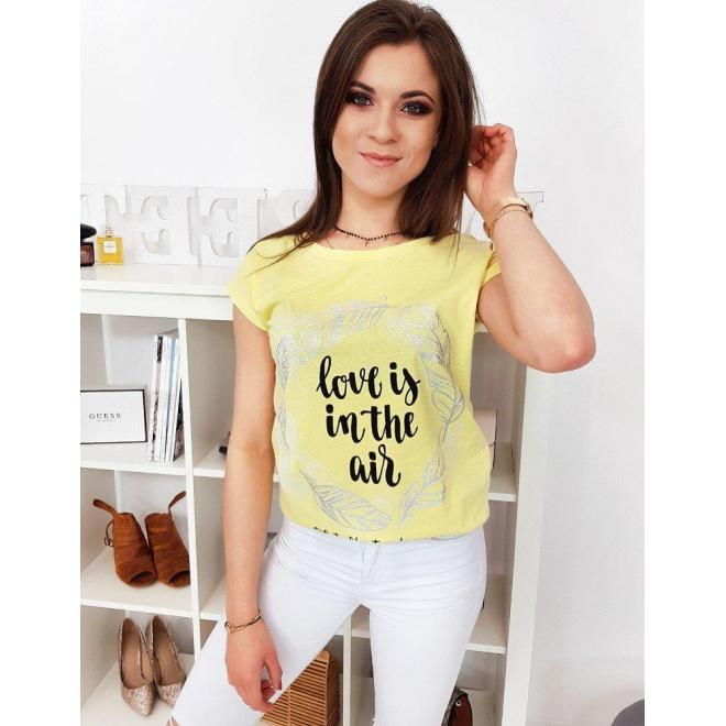 Žlté módne tričko s potlačou pre dámy