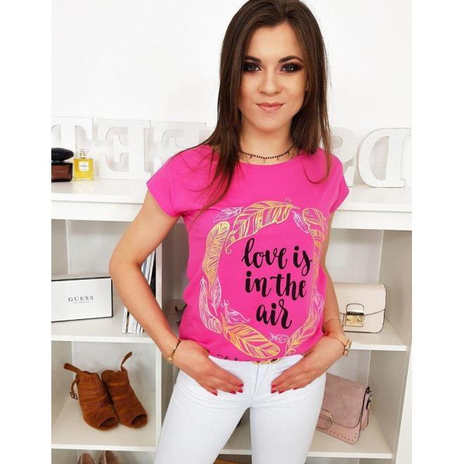 Módne dámske tričko ružovej farby s potlačou