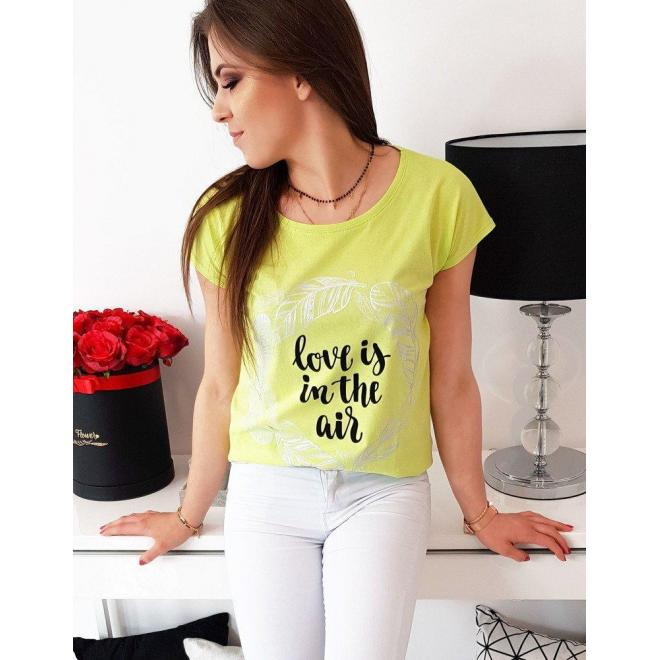 Limetkové módne tričko s potlačou pre dámy