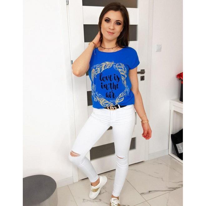 Módne dámske tričko modrej farby s potlačou