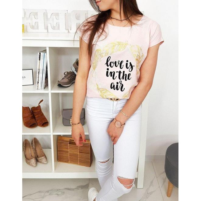 Dámske módne tričko s potlačou v pastelovo ružovej farbe