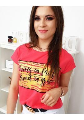 Dámske štýlové tričko s potlačou v malinovej farbe