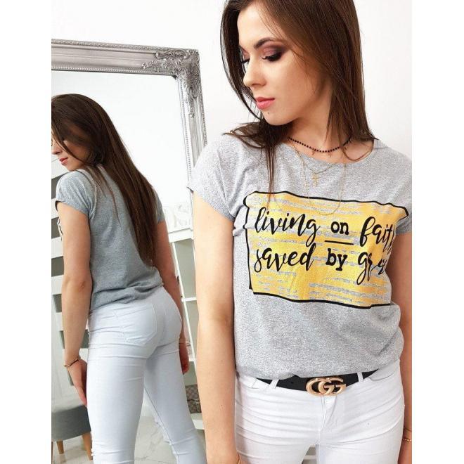 Svetlosivé štýlové tričko s potlačou pre dámy