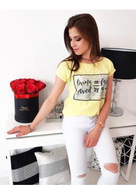 Štýlové dámske tričko žltej farby s potlačou