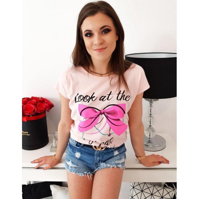 Bavlnené dámske tričko pastelovo ružovej farby s potlačou