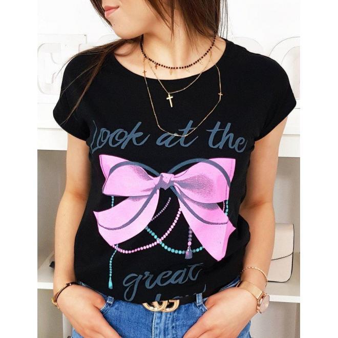 Bavlnené dámske tričko čiernej farby s potlačou