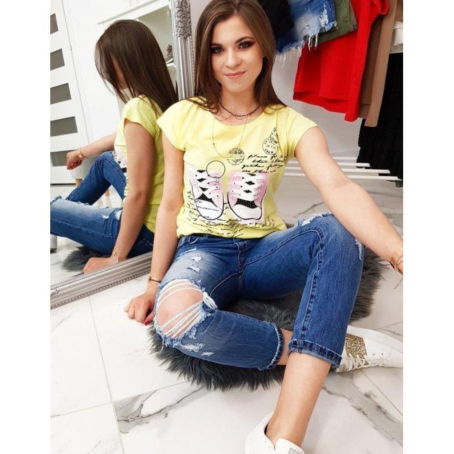 Módne dámske tričko žltej farby s potlačou