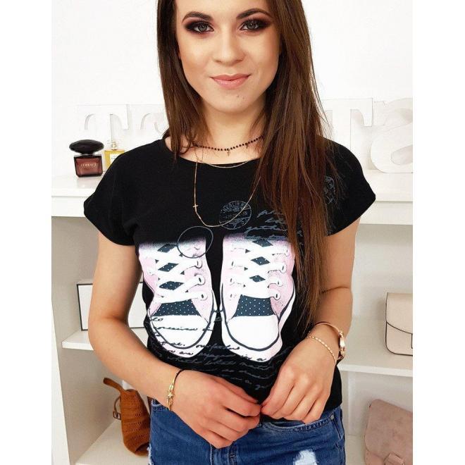 Módne dámske tričko čiernej farby s potlačou