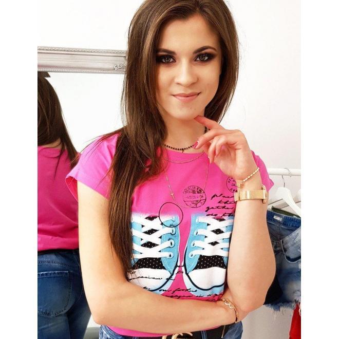 Ružové módne tričko s potlačou pre dámy