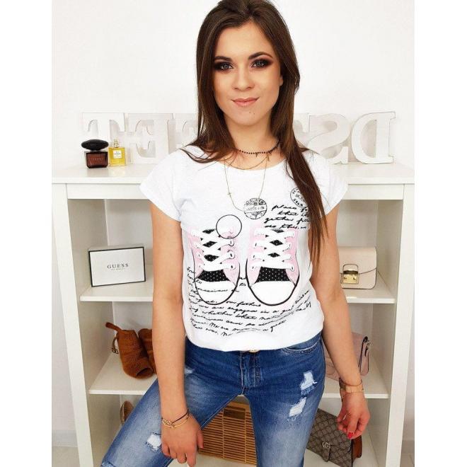 Dámske módne tričko s potlačou v bielej farbe