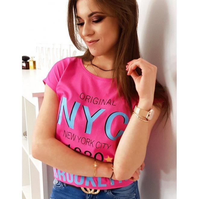 Ružové štýlové tričko s potlačou pre dámy