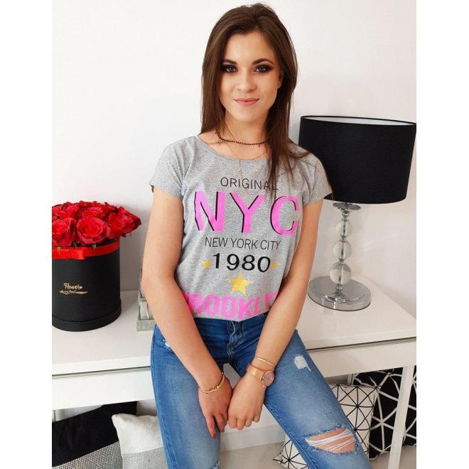 Štýlové dámske tričko svetlosivej farby s potlačou
