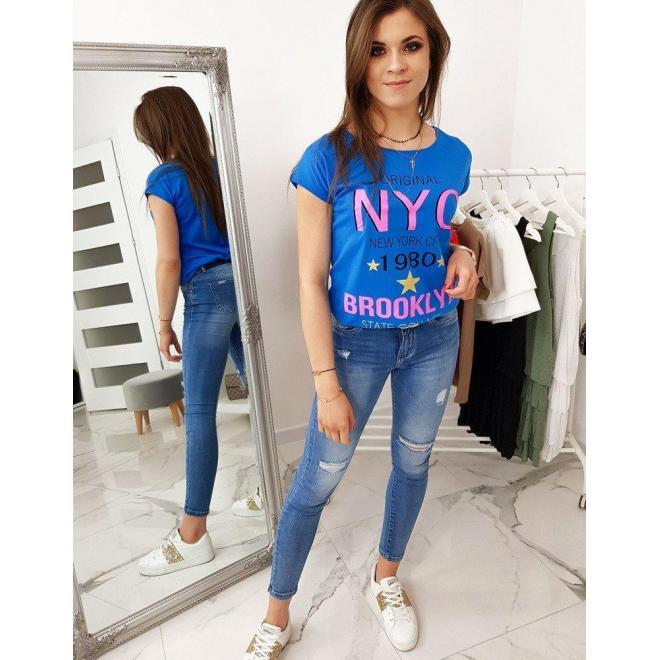Štýlové dámske tričko modrej farby s potlačou