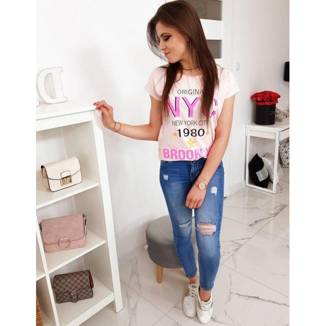 Dámske štýlové tričko s potlačou v pastelovo ružovej farbe