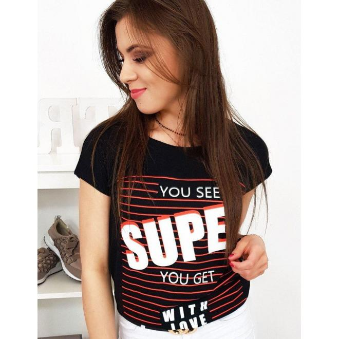 Dámske bavlnené tričko s potlačou v čiernej farbe