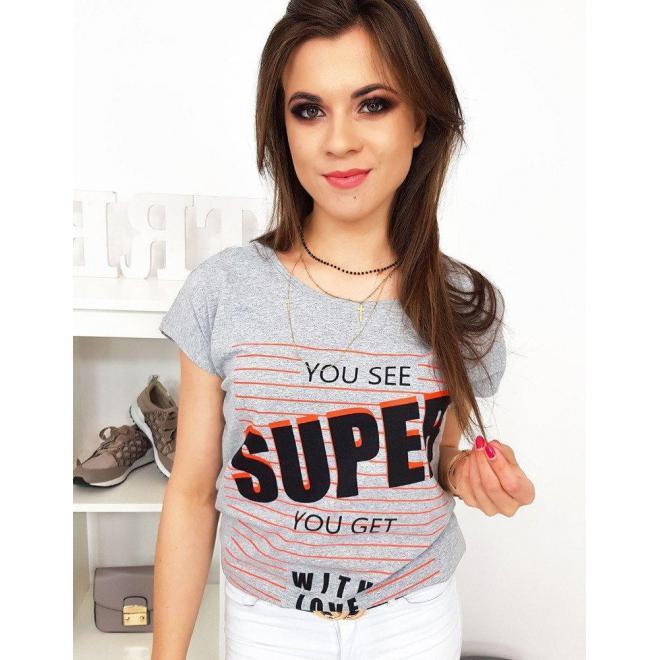 Svetlosivé bavlnené tričko s potlačou pre dámy
