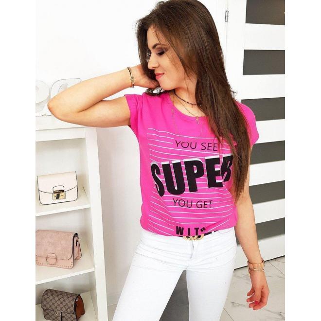 Bavlnené dámske tričko ružovej farby s potlačou