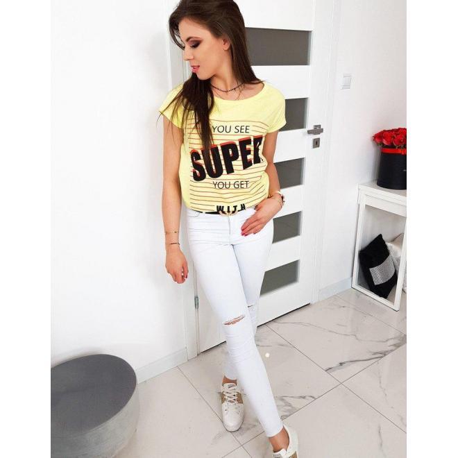 Dámske bavlnené tričko s potlačou v žltej farbe