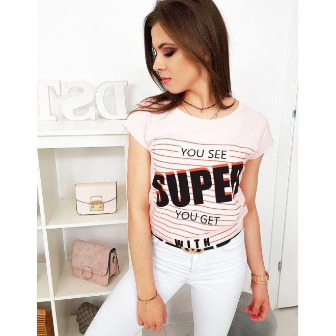 Pastelovo ružové bavlnené tričko s potlačou pre dámy