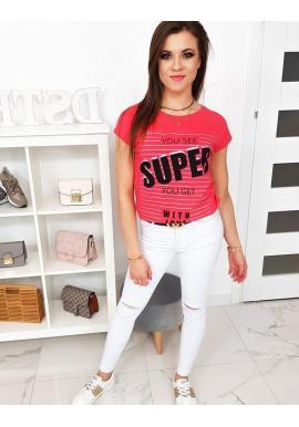 Bavlnené dámske tričko malinovej farby s potlačou