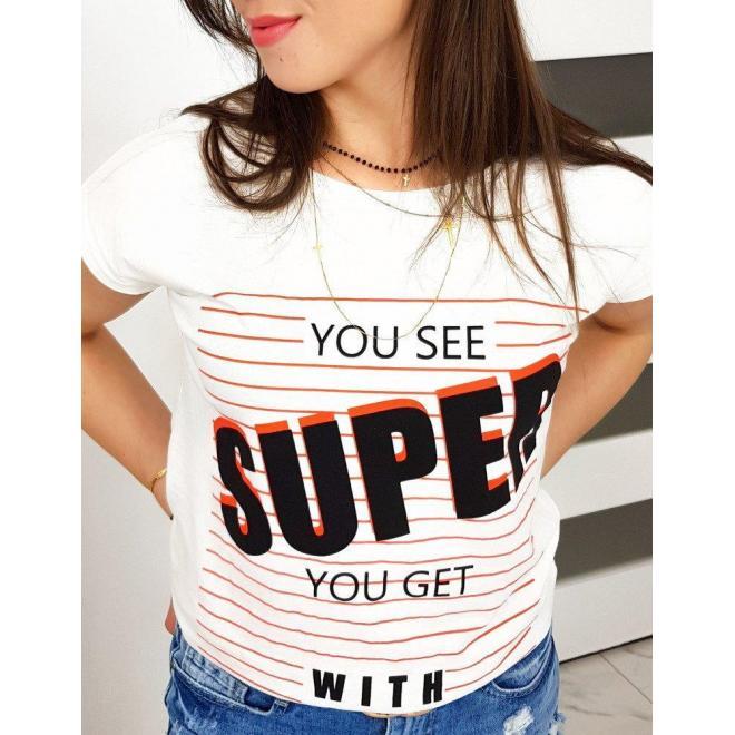 Bavlnené dámske tričko smotanovej farby s potlačou