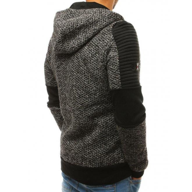 Štýlová pánska mikina sivej farby s kapucňou