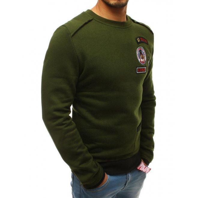 Zelená štýlová mikina s nášivkami pre pánov
