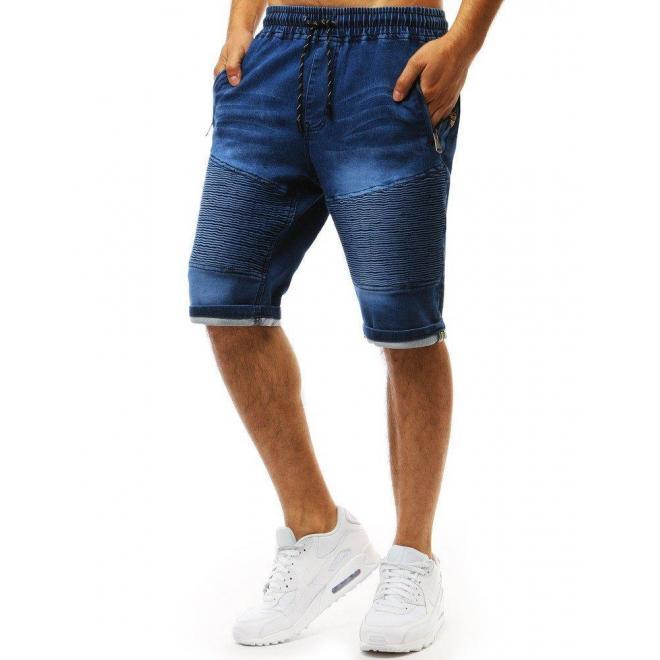 Modré módne kraťasy s rifľovým vzhľadom pre pánov