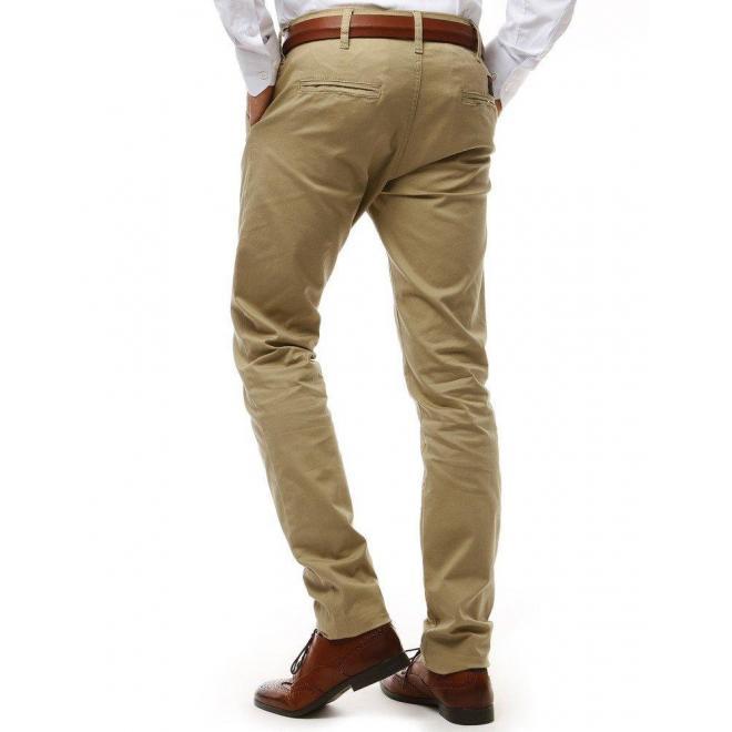 Béžové módne nohavice Chinos pre pánov