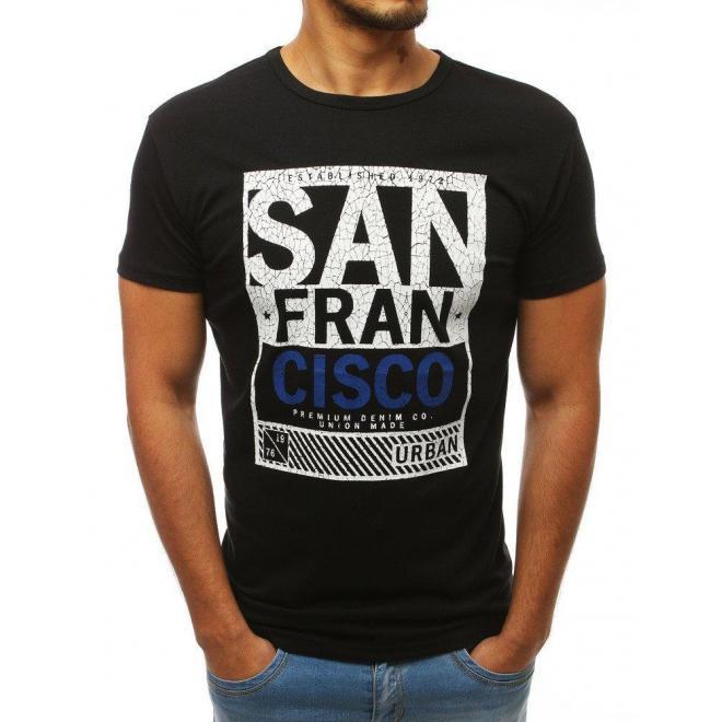 Módne pánske tričko čiernej farby s potlačou