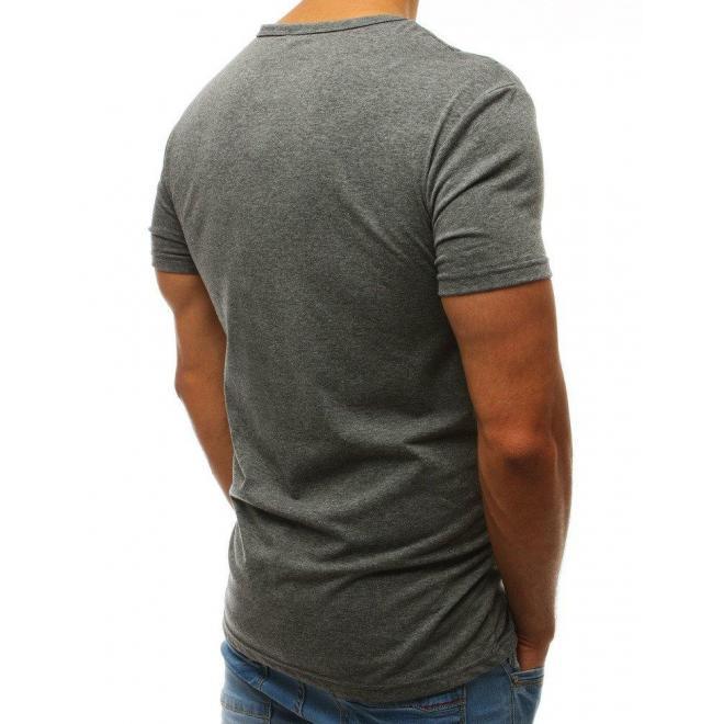 Pánske módne tričko s potlačou v sivej farbe