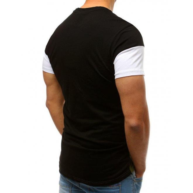 Štýlové pánske tričko čierno-zelenej farby s potlačou