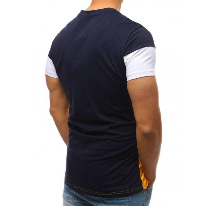 Pánske štýlové tričko s potlačou v modro-žltej farbe