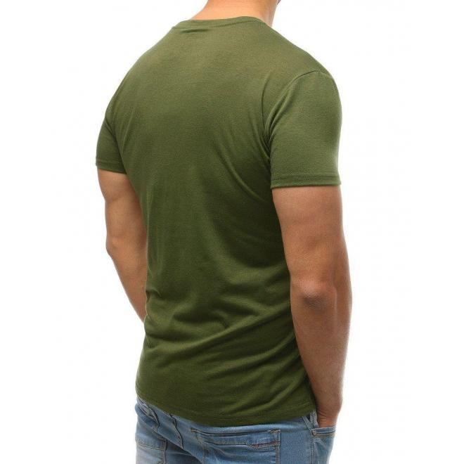 Pánske klasické tričko s okrúhlym výstrihom v kaki farbe