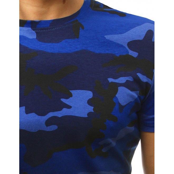 Maskáčové pánske tričko tmavomodrej farby s krátkym rukávom