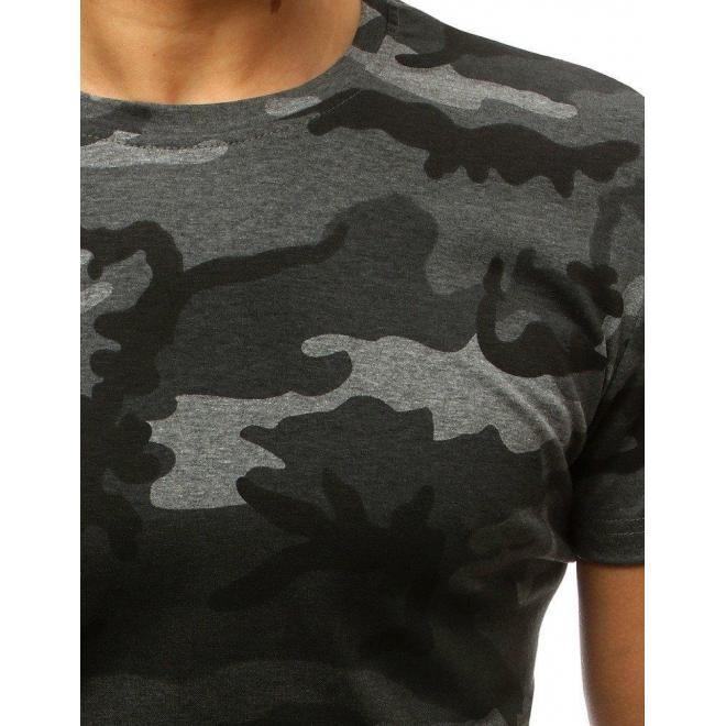 Maskáčové pánske tričko tmavosivej farby s krátkym rukávom