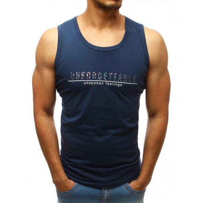 Tmavomodré módne tričko s potlačou pre pánov