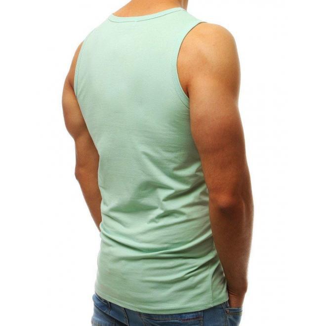 Klasické pánske tričko svetlozelenej farby bez rukávov