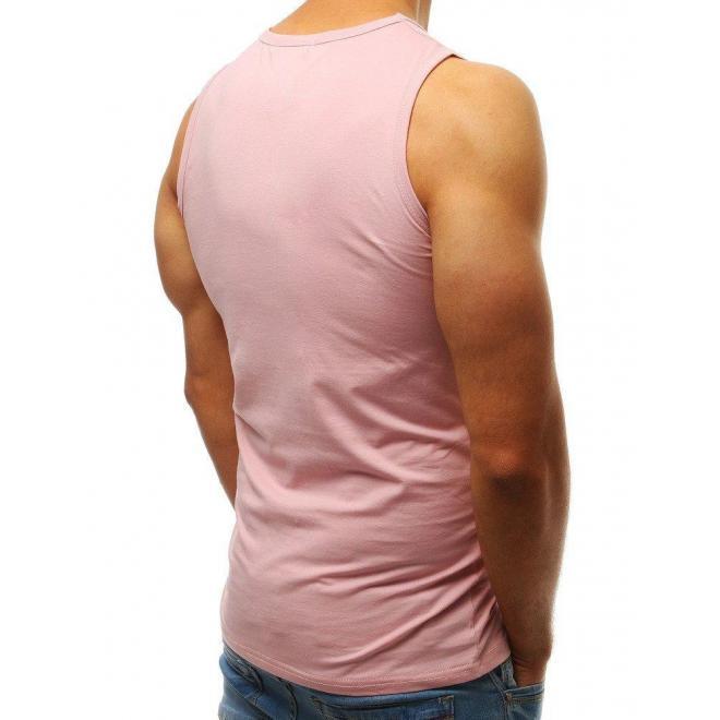 Pánske klasické tričko bez rukávov v ružovej farbe