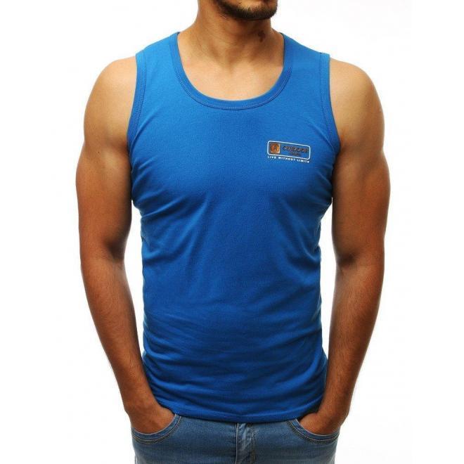 Klasické pánske tričko modrej farby bez rukávov