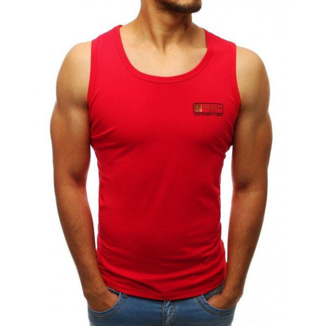 Červené klasické tričko bez rukávov pre pánov
