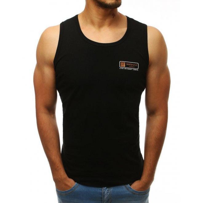 Čierne klasické tričko bez rukávov pre pánov
