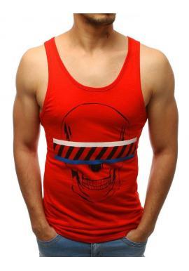 Bavlnené pánske tričko červenej farby s potlačou